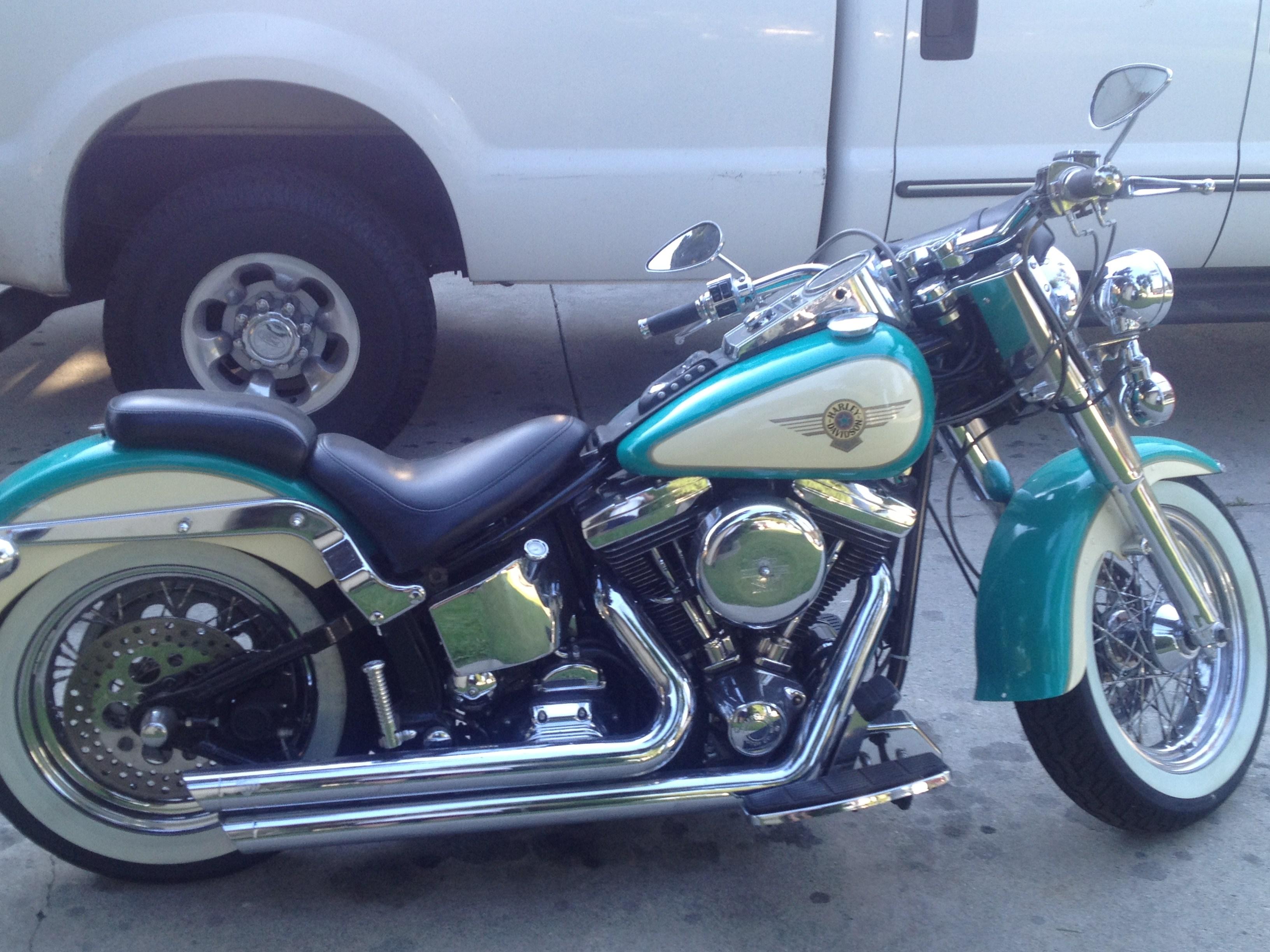 1997 Harley Davidson 174 Flstf Softail 174 Fat Boy 174 Teal White